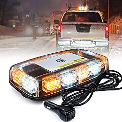 Xprite 12 Inch LED Mini Strobe Light Bar 15 Flashing Modes Warning Beacon Lights w/Magnetic Base for Emergency Hazard Safety Vehicles, Tow Trucks, Snow Plow, Construction Cars (White Mix Amber)