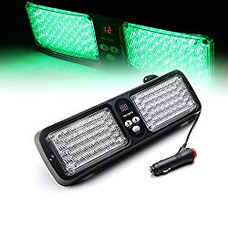 Xprite Green 86 LED 12 Modes Windshield SunShield Law Enforcement Emergency Hazard Warning Strobe Lights for 12V Vehicle Sun Visor