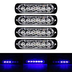 XT AUTO 6LED Car Truck Emergency Beacon Warning Hazard Flash Strobe Light Blue/Blue 4-Pack