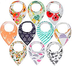 10-Pack Baby Bandana Drool Bibs for Drooling and Teething, 100% Organic Cotton, Soft and Absorbent,Bibs for Baby Girls – Baby Shower Gift Set by Ana Baby