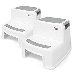 2 Step Stool for Kids (Gray 2 Pack) | Toddler Stool for Toilet Potty Training | Slip Resistant Soft Grip for Safety as Bathroom Potty Stool & Kitchen Step Stool | Dual Height & Wide Two Step | iLove