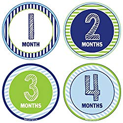 24 Pack Baby Month Stickers and Milestone Stickers by Kenco – Track Your Baby's First Year Month-by-Month and Holidays! Boys and Girls' Available (Boy)