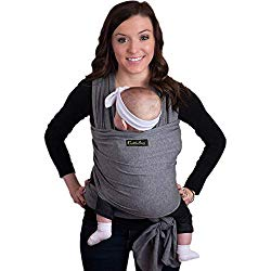 9-in-1 CuddleBug Baby Wrap Sling + Carrier – Newborns & Toddlers up to 36 lbs – Hands Free – Gentle, Stretch Fabric – Ideal for Baby Showers – One Size Fits All (Grey)