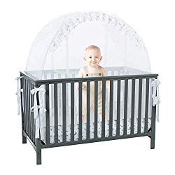 Baby Crib Safety Pop up Tent: Premium Baby Bed Canopy Netting Cover – See Through Mesh Top Nursery Mosquito Net – Stylish and Sturdy Unisex Infant Crib Tent Net – Protect Your Baby from Falls and Bite