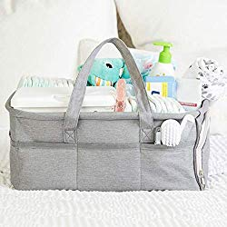Baby Diaper Caddy Organizer by Kids N Such – Zipper Pocket – Large 15x12x7 Portable Diaper Holder Basket for Nursery or Car – 3 Insert Compartments – Grey Canvas Tote – Boy or Girl – Baby Shower Gift