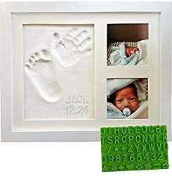 Baby Handprint & Footprint Keepsake Photo Frame Kit – Personzalize it w/Free Stencil! Non-Toxic Clay, Wall/Table Wood Picture Frame. Perfect Registry, Baby Shower, New Mom, Birthday & Newborn Gift!