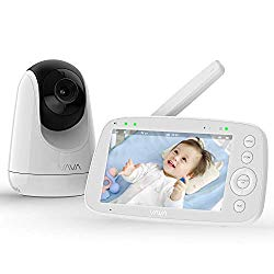 Baby Monitor, VAVA 720P 5″ HD Display Video Baby Monitor with Camera and Audio, IPS Screen, 900ft Range, 4500 mAh Battery, Two-Way Audio, One-Click Zoom, Night Vision and Thermal Monitor