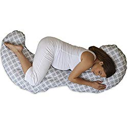 Boppy Slipcovered Total Body Pregnancy Pillow, Gray/White
