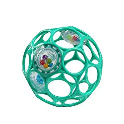 Bright Starts Oball Rattle Easy Grasp Toy, Ages Newborn +, Teal, 4 Inch