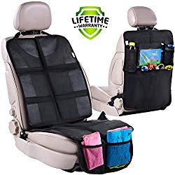 Car Seat Protector + Rear Seat Organizer For Kids – Waterproof & Stain Resistant Protective Backseat Kick Mat W/ Storage Pockets & Tablet Holder – Baby Travel Kickmat & Front / Back Seat Cover Set