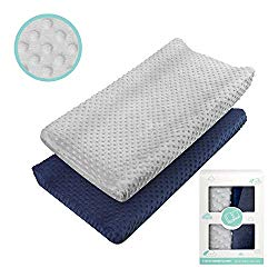 Changing Pad Cover – Babebay Ultra Soft Minky Dots Plush Changing Table Covers Breathable Changing Table Sheets Wipeable Changing Pad Covers Suit for Baby Boy and Baby Girl (2 Pack)