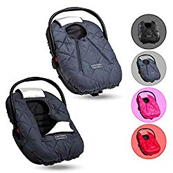 Cozy Cover Premium Infant Car Seat Cover (Charcoal) with Polar Fleece – The Industry Leading Infant Carrier Cover Trusted by Over 6 Million Moms for Keeping Your Baby Warm