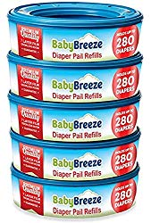 Diaper Pail Refill Bags for Playtex Diaper Genie – 1400 Count (5-Pack) – By BabyBreeze