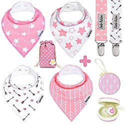Dodo Babies Baby Bandana Drool Bib Set – 4pc Infant Bibs with 2 Pacifier Clips, Binky Case, Gift-Ready Bag – Soft Absorbent Cotton with Polyester Back – Adjustable Buttons to Fit 3-24 -Month Old Girls