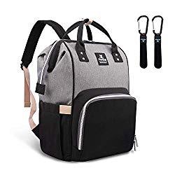 Hafmall Diaper Bag Backpack – Waterproof Multifunctional Large Travel Nappy Bag (Gray Black)