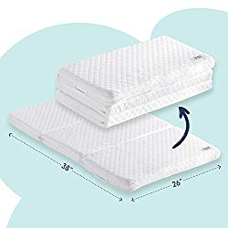 hiccapop Tri-fold Pack n Play Mattress Pad with Firm (for Babies) & Soft (Toddlers) Sides   Portable Foldable Playard Mattress, Playpen Mattress for Pack and Play Crib   Includes Carry Case
