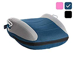 hiccapop UberBoost Inflatable Booster Car Seat | Travel Booster Car Seat | Narrow Backless Booster Car Seat for Travel | Portable Booster Seat for Toddlers, Kids, Child (Navy/Gray)