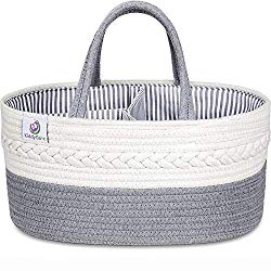 KiddyCare Baby Diaper Caddy Organizer – Stylish Rope Nursery Storage Bin – 100% Cotton Canvas Portable Diaper Storage Basket for Changing Table & Car – Top Baby Shower Gift