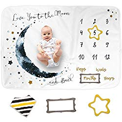 Luka&Lily Baby Monthly Milestone Blanket for Baby Boy and Girl, Baby Photo Blanket for Newborn Baby Shower, Monthly Blanket for Baby Pictures, Includes Bandana Drool Bib + 2 Frames, Large 60″x40″