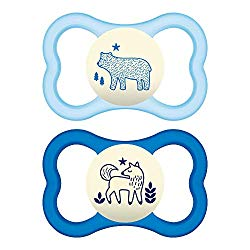 MAM Air Night Pacifiers (2 pack), MAM Sensitive Skin Pacifier 6+ Months, Glow in the Dark Pacifier, Best Pacifier for Breastfed Babies, Baby Boy Pacifiers, White & Blue
