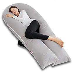Meiz Full Body Pregnancy Pillow – with 300TC Comfy Cotton Pillowcase & Microfiber Inner Cover- for Back Support – King Size (Grey)