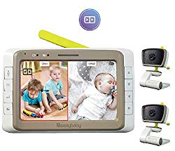 MoonyBaby Split 50 Baby Monitor with 2 Cameras, Split Screen Wide View, 5 Inches LCD Video, Long Range, Automatic Night Vision, Temperature Monitoring, 2 Way Talk Back, Power Saving, Long Battery Life