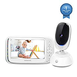 Motorola Comfort75 Video Baby Monitor – Infant Wireless Camera with Remote Pan, Digital Zoom, Temperature Sensor – 5 Inch LCD Color Screen Display with Two-Way Intercom, Night Vision – 1000ft Range