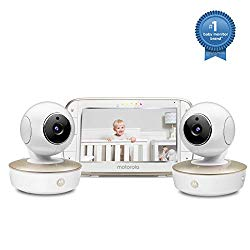 Motorola Video Baby Monitor – 2 Wide Angle HD Cameras with Infrared Night Vision and Remote Pan, Tilt, Zoom – 5-Inch LCD Color Display with Split Screen View, Room Temperature and Sound Alert MBP50-G2