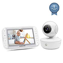 Motorola Video Baby Monitor 5″ Color Parent Unit, Remote Pan/Tilt/Zoom, Portable Rechargeable Camera, Two-Way Audio, Night Vision, 5 Lullabies, MBP36XL