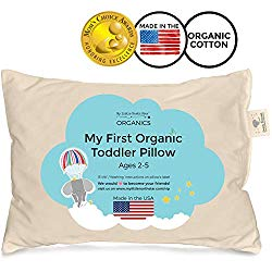 My Little North Star Toddler Pillow – Soft Organic Cotton Baby Pillows for Toddlers, Children and Babies. Made in USA – Washable Unisex Travel Crib Pillow for Kids Bed or Day Care – 13X18