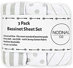 NODNAL CO. Bassinet Fitted Sheet Set 3 Pack 100% Jersey Gray Cotton for Baby Girl/Boy – Grey Chevron, Polka Dot and Stripe 160 GSM Sheets
