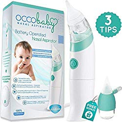 OCCObaby Baby Nasal Aspirator – Safe Hygienic and Quick Battery Operated Nose Cleaner with 3 Sizes of Nose Tips Includes Bonus Manual Snot Sucker for Newborns and Toddlers (Limited Edition)