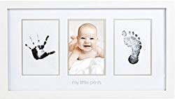 Pearhead Babyprints Newborn Baby Handprint and Footprint Photo Frame Kit and Included Safe For Baby Clean-Touch Ink Pad, White