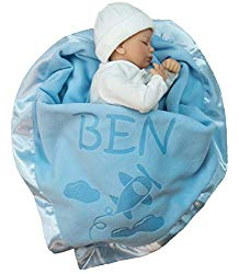 Personalized Airplane Baby Blanket Gifts – Large Custom Blankets, Boy or Girls (Blue, Pink: 1 Text Line)