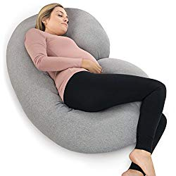 PharMeDoc Pregnancy Pillow with Jersey Cover, C Shaped Full Body Pillow Grey – Includes Travel Bag for Grey Color ONLY