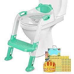 PITAYA Potty Training Seat with Step Stool Ladder,Comfortable Safe Potty Seat with Anti-Slip Pads Ladder ,Potty Training Toilet for Kids Boys Girls Toddlers,with Potty Training Champion Card(Green)