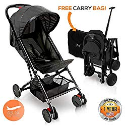 Portable Folding Lightweight Baby Stroller – Smallest Foldable Compact Stroller Airplane Travel ,Compact Storage , 5-Point Safety, Easy 1 Hand Fold, Canopy Sun Shade , Storage Bag – Jovial JPC20BK