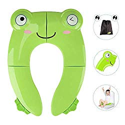 Portable Potty Seat for Toddler Travel – Foldable Non-Slip Potty Training Toilet Seat Cover for Boys/Girls, Baby/Kids with Drawstring Bag