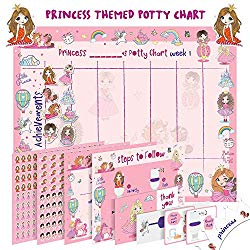Potty Training Chart for Toddlers – Princess Design – Sticker Chart, 4 Week Reward Chart, Certificate, Instruction Booklet and More – for Girls