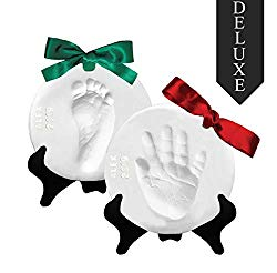 Proud Baby Deluxe Clay Hand Print & Footprint Keepsake Kit – Glaze Finish – Letter Stamps – 4 Ribbons – 2 EASELS – Dries Stone Hard – No Bake – Air Drying (Makes 2 Plaques)