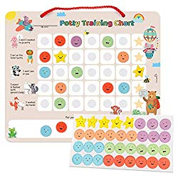 PutskA Potty-Training-Magnetic-Reward-Chart for Toddlers – Potty Chart with Multicolored Emoji & Star Stickers – Motivational Toilet Training for Boys & Girls (Animal Theme)