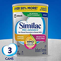 Similac Pro-Advance Non-GMO Infant Formula with Iron, with 2′-FL HMO, for Immune Support, Baby Formula, Powder, 36 Oz, Pack of 3 (One-Month Supply)