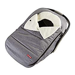 Skip Hop Stroll & Go Plush Fleece Infant And Baby Automotive Winter Car Seat Cover Heather Grey – Universal Fit
