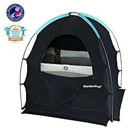 SlumberPod Privacy Pod for Traveling with Babies and Toddlers: Easy to Set Up Blackout Dark and Private Sleeping Space – Canopy Compatible with Graco Pack 'n Play, Lotus Travel Crib, Baby Bjorn