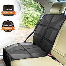 Sunferno Car Seat Protector – Protects Your Car Seat from Baby Car Seat Indents, Dirt and Spills – Waterproof Thick Padded Protector to Keep Your Auto Upholstery Looking New – with 2 Storage Pockets