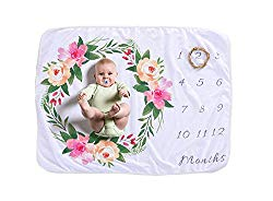 Sunny Bliss Monthly Baby Milestone Blanket Soft Fleece 1 to 12 Months Photography for Newborn Boy & Girl Best Receiving Swaddle Unisex Wearable Blankets