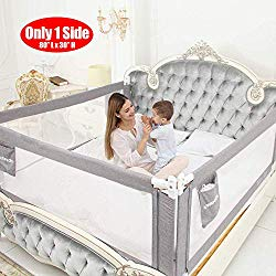 """SURPCOS Bed Rails for Toddlers – 60″ 70″ 80″ Extra Long Baby Bed Rail Guard for Kids Twin, Double, Full Size Queen & King Mattress (Gray) (1Side: 80""""(L) X30""""(H))"""