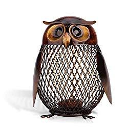 Tooarts Owl Shaped Metal Coin Bank Box Handwork Crafting Art Piggy Bank Owl Gifts