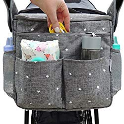 Universal Parents Diaper Organizer Bag with Stroller Attachments. Large Strollers Insulated Baby Bag. Gift for Newborns, Infants, Toddlers, Babies. 3 Ways to Carry – Shoulder, Messenger Bag, Backpack.