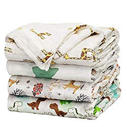upsimples Baby Swaddle Blanket Unisex Swaddle Wrap Soft Silky Bamboo Muslin Swaddle Blankets Neutral Receiving Blanket for Boys and Girls, 47 x 47 inches, Set of 4 – Fox/Elephant/Giraffe/Dinosaur